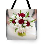 Red Rose And White Tulip Wedding Bouquet Tote Bag