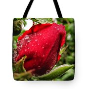 Red Rose Bud With Water Drops Tote Bag