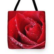 Red Rose Macro With Waterdrops Tote Bag