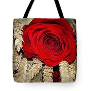Red Rose On A Bed Of Wheat Tote Bag