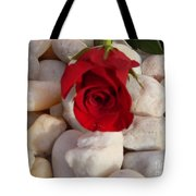 Red Rose On River Rocks Tote Bag