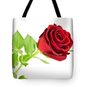 Red Rose On White Tote Bag