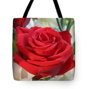 Red Rose With Garden Background  Tote Bag