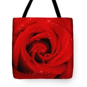 Red Rose With Water Drops Tote Bag