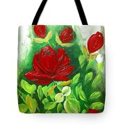 Red Roses From The Garden Tote Bag
