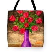 Red Roses In A Purple Vase Tote Bag