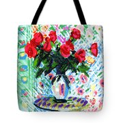 Red Roses In Water Tote Bag