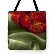 Red Roses On Green Silk Tote Bag
