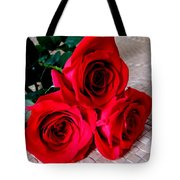 Red Roses On Lauhala Tote Bag