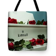 Red Roses On The Grand Piano Tote Bag