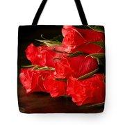 Red Roses On Wood Floor Tote Bag