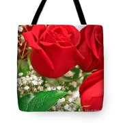 Red Roses With Baby's Breath Tote Bag by Ann Murphy