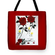 Red Roses Yellow Buds Tote Bag
