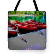 Red Rowboats Dock Lake Enhanced Iv Tote Bag
