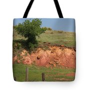 Red Sandstone Hillside With Grass Tote Bag