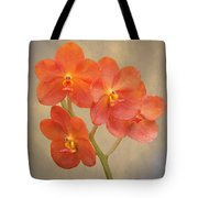 Red Scarlet Orchid On Grunge Tote Bag by Rudy Umans