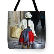 Red Skirted Woman Of Cuenca Tote Bag
