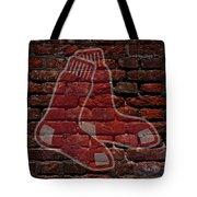 Red Sox Baseball Graffiti On Brick  Tote Bag