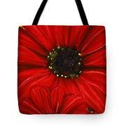 Red Spectacular- Red Gerbera Daisy Painting Tote Bag