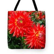 Red Spikey Flowers Tote Bag
