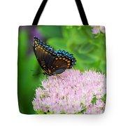 Red Spotted Admiral On Sedum - Vertical Tote Bag
