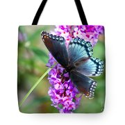 Red Spotted Purple Butterfly On Butterfly Bush Tote Bag