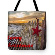 Red Star On Fence Tote Bag