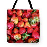Red Strawberries Tote Bag