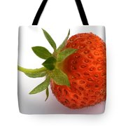 Red Strawberry With Stem Tote Bag