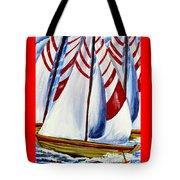 Red Stripe Sails Tote Bag