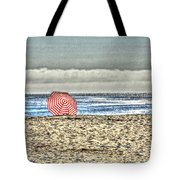 Red Striped Umbrella At The Beach Tote Bag