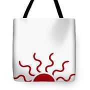 Red Sun - Abstract - Red And White Tote Bag