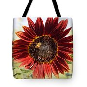 Red Sunflower And Bee Tote Bag by Kerri Mortenson