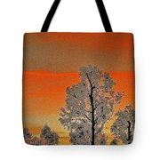 Red Sunset With Trees Tote Bag