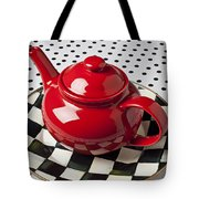 Red Teapot On Checkerboard Plate Tote Bag