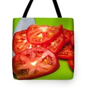 Red Tomato Slices And Knife On Green Chopping Board Tote Bag