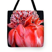 Red Torch Ginger On Black Tote Bag