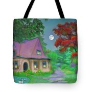 Red Tree Cottage At Dusk Tote Bag