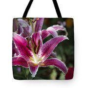 Red Tropical Flowers Tote Bag