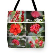 Red Tropicals Collage Tote Bag