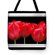 Red Tulip Triptych Tote Bag