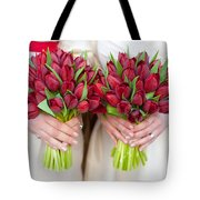 Red Tulip Weddding Bouquets Tote Bag