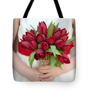 Red Tulip Wedding Bouquet Tote Bag