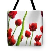 Red Tulips From The Bottom Up Triptych Tote Bag
