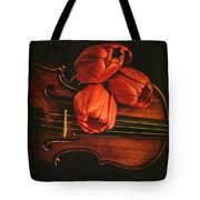 Red Tulips On A Violin Tote Bag