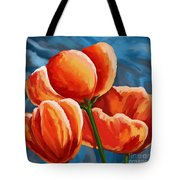 Red Tulips On Blue Tote Bag
