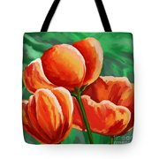 Red Tulips On Green Tote Bag
