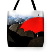 Red Umbrella In The City Tote Bag
