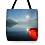 Red Umbrella On The Beach Tote Bag
