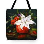 Red Vase With Lily And Pansies Tote Bag